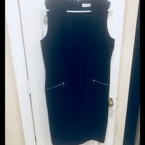 Calvin Klein Sleeveless Dress Sz 10 Black Lined